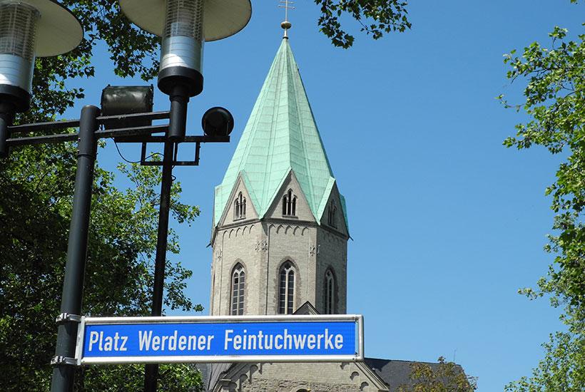 """Turmansicht vom """"Platz Werdener Feintuchwerke"""""""