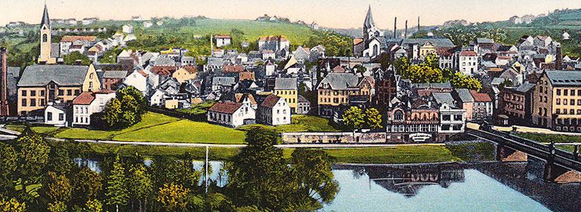 Zeichnung der historischen Ansicht mit Leinpfad