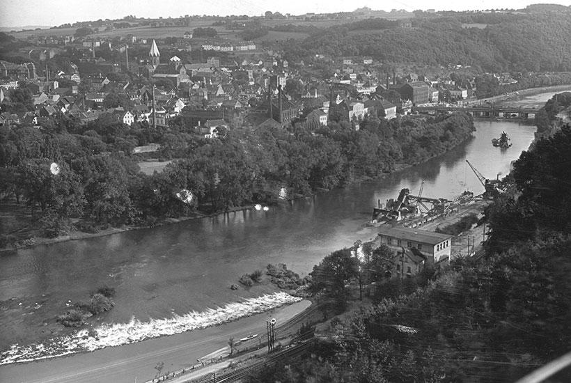 Blick auf Werden mit Schlagt und Brehminsel, 1931