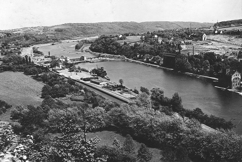 Luftbild Wehrbaustelle, 1932