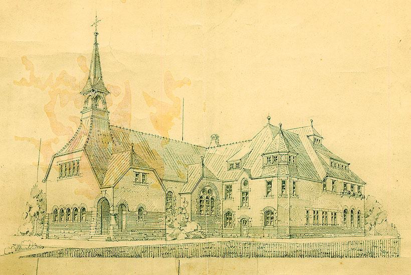 11-1: Evangelisches Bethaus und Vereinshaus Am Brandenbusch – Architektenzeichnung 1910