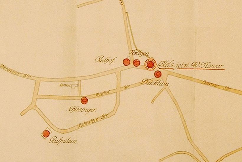 27-3: Lageplan der Gastwirtschaften am Bredeneyer Kreuz um 1910 mit alter Straßenführung