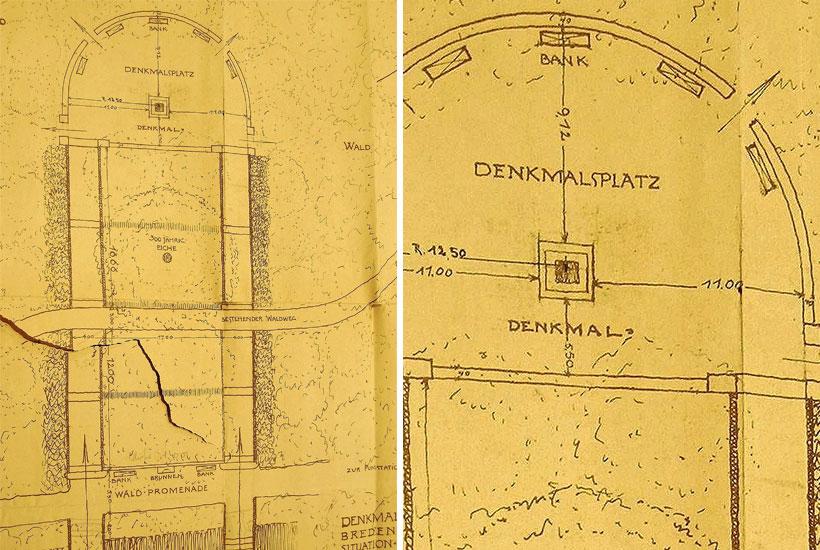 26-2: Architektenplan des Jahrhundertdenkmals im Gemeindewald 1913