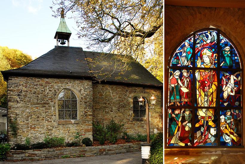 Klusenkapelle (6-1) und Spitzbogenfenster in der Klusenkapelle mit Szenen um die Ermordung von Erzbischof Engelbert (6-2)