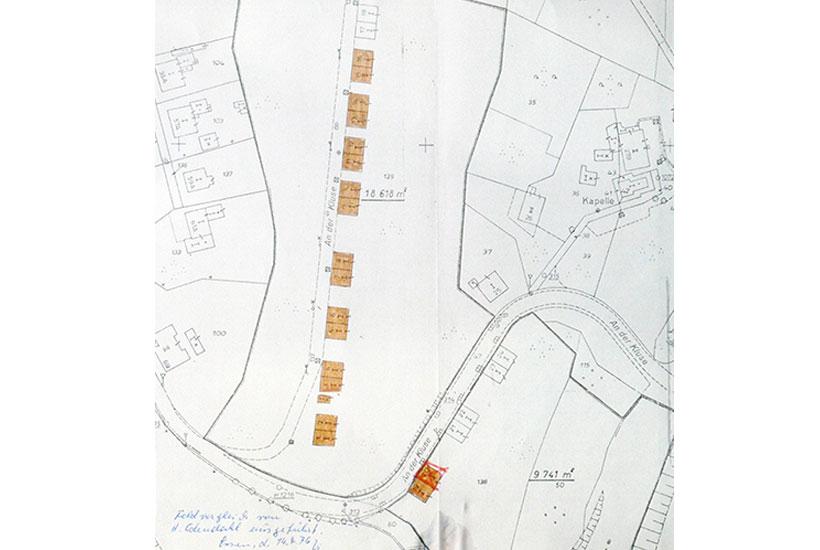 """7-2: Lageplan der Zechenwohnhäuser (""""Klein Mexiko"""") vor dem Abriss 1970er-Jahre"""