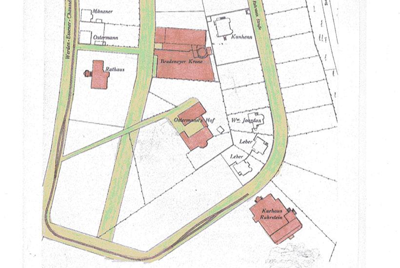 """15-2: Lageplan (Ausschnitt) oberes Bredeney – u. a.  mit Rathaus, """"Kurhotel Ruhrstein"""" und Restaurant """"Bredeneyer Krone"""" um 1900"""