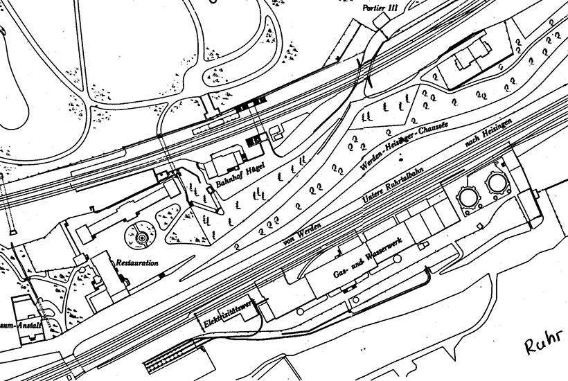1-2: Karte des Geländes am heutigen Regattaturm um 1900