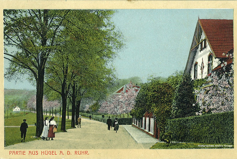 12-3: Straßenszene an der Ruhr unterhalb der Villa Hügel (Postkarte von 1912)