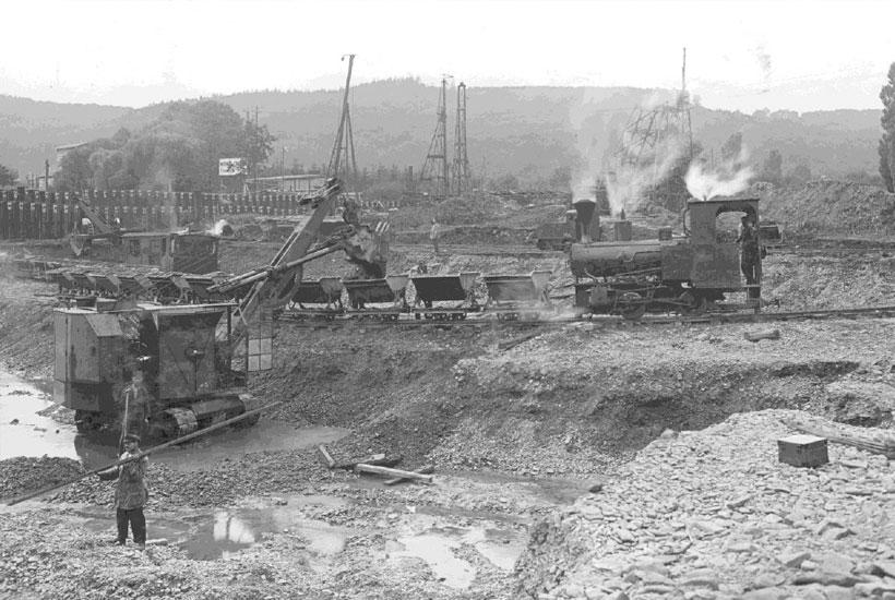 Baggerarbeiten am Wehr, 1931