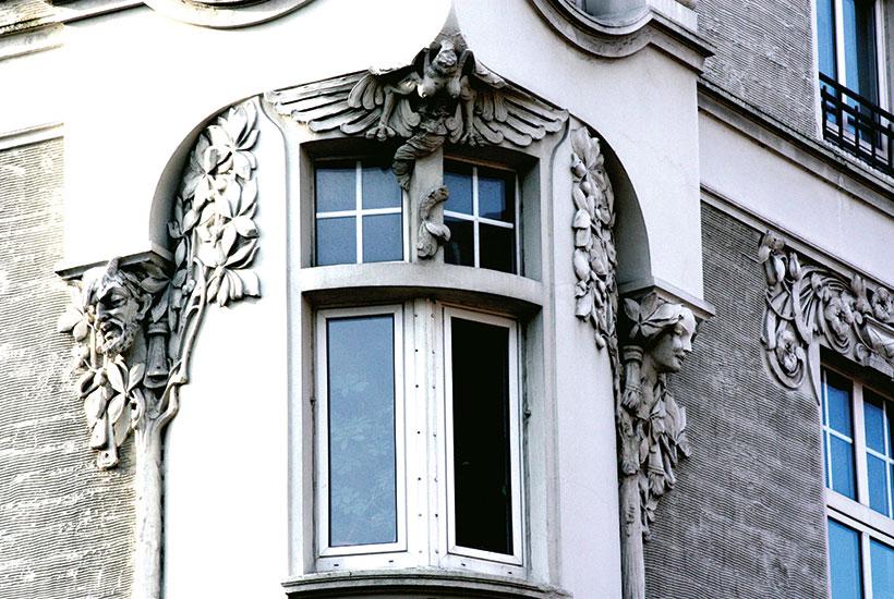 Detail der Fassade am Haus Kimmeskamp