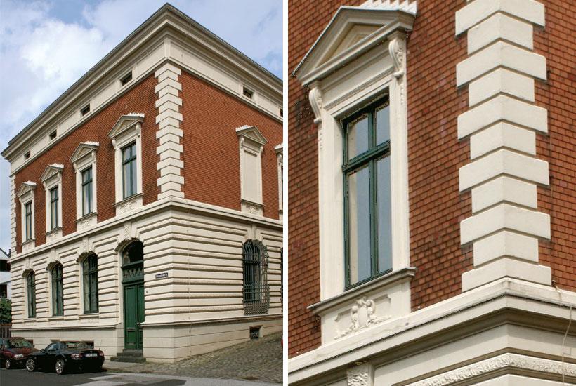 Gebäude im klassizistischen Stil mit Quaderbändern